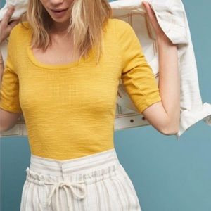Anthropologie TLA yellow fitted elbow sleeve top